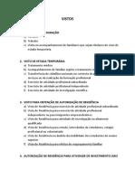 Designações de tipos de Vistos Portugal
