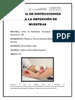 Manual de Instrucciones Para La Obtención de Muestras