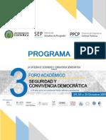 Programa Preliminar 3 Foro Seguridad y Convivencia Democrática