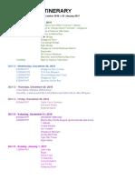Singapore 2016 Itinerary Sample
