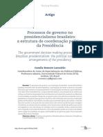 Processos de governo no presidencialismo brasileiro