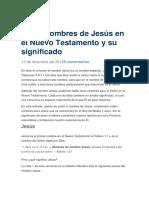 5 Nombres de Jesus