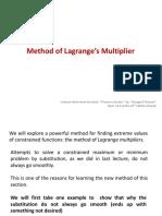 Topic 12 - Method of Lagrange's Multiplier