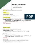 j&w 2019 Programma Completo