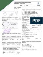 Avaliação Matemática 9 Ano _ Bim 3