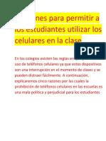 5 Razones Para Permitir a Los Estudiantes Utilizar Los Celulares en La Clase