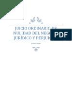 Juicio Ordinario de Nulidad Del Negocio Jurídico y Cobro de Perjuicios