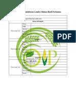 Formulir Pendaftaran Lomba Olahan Hasil Pertanian