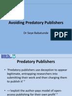 Avoiding Predatory Journals