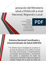 Organización Del Ministerio de Salud y ESSALUD a Nivel Nacional, Regional y Local.