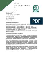 Historia Clínica Hospital General Regional 5