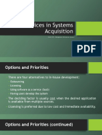 7. Choices in Systems Acquisition