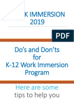 Work Immersion 19 Dos Donts