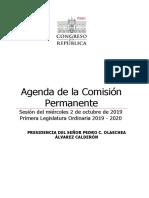 Agenda Comisión Permanente convocada por Pedro Olaechea