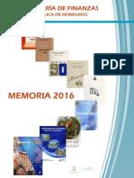 Memoria Secretaria de Finanzas, de la República de Honduras 2016
