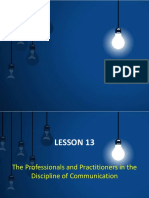 LESSON 13 The professional Practitioners and Discipline of communication