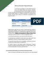 """Actividad 2 – Evidencia 3. Documento """"Recomendaciones Alimentarias""""."""
