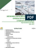 Memoria Descriptiva Operaciones Mina 2013 Mina Iscaycruz