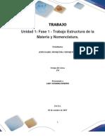 Formato Entrega Trabajo Colaborativo – Unidad 1 Fase 1 - Trabajo Estructura de La Materia y Nomenclatura_Grupo 379