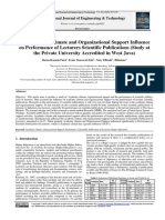 Ratna Komala Putri, FBM, UTama. the Academic Climate and Organizational Support Influence on Performance of Lecturers Scientific Publications (Study at the Private University Accredited in West Java)