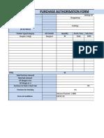 Purchase Authorisation Form
