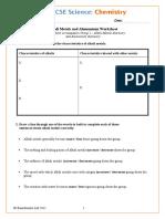alkali + alumunium worksheet