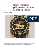 Monetary Policy Review- Another Rate Cut May Not Help Indian Economy