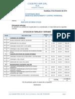 Cotizacion m.o. Tarrajeo Codepro