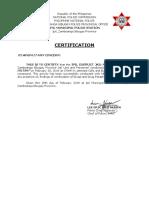 Certification PNP Ipil