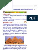 TRIÁNGULOS PROPIEDADES FUNDAMENTALES EJERCICIOS RESUELTOS