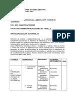 ROBERTO GUTIERREZ, Operacionalización de Variable