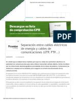 Separación Entre Cables Eléctricos de Energía y Cables