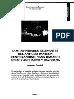 DOS DIVINIDADES RELEVANTES DEL ANTIGUO PANTEON CENTRO-ANDINO