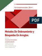 Metodos de Ordenamiento y Búsquedas en Arreglos.