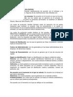 Clasificación de Los Costos - Resumen