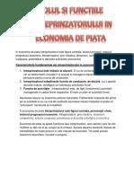 Rolul Si Functiile Intreprinzatorului in Economia de Piata