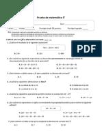 prueba matematica junio 2019 3°