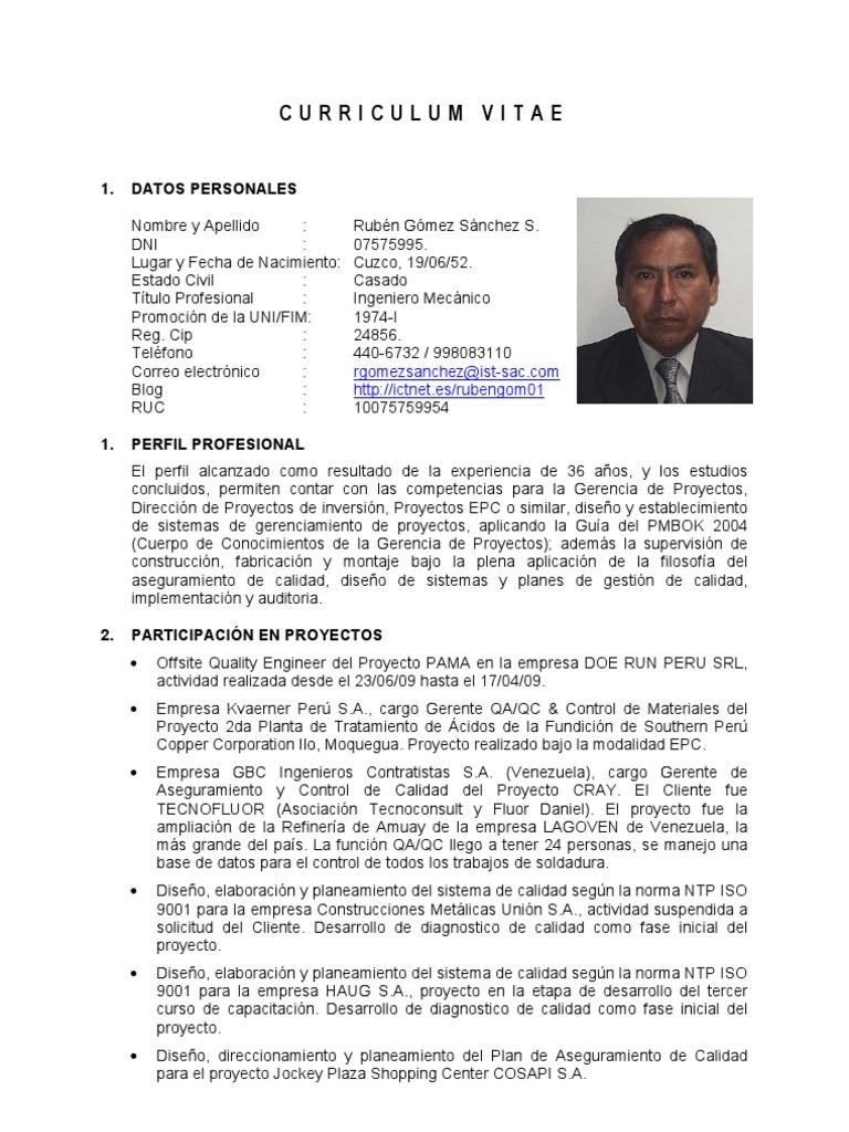 Curriculum Vitae: Rubén Gómez Sánchez S.