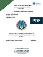 Análisis Crítico Sobre El Libro Corrientes Sociológicas Del Autor Raúl Antonio Morales Bathen