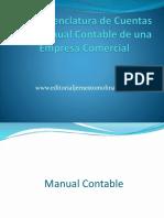 La Nomenclatura de Cuentas y El Manual Contable en Una Empresa Comercial