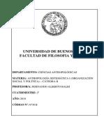 PROGRAMA GENERAL - Antropología Sistemática I - Cátedra B - BALBI, Fernando