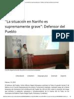 """""""La Situación en Nariño Es Supremamente Grave""""_ Defensor Del Pueblo _ Defensoría Del Pueblo"""