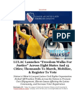 LULAC Launches Freedom Walks for Justice Across Eight States and 15 Cities; Thousands to March Mobilize Register to Vote