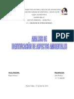 ANALISIS DE  IDENTIFICACIÓN DE ASPECTOS AMBIENTALES