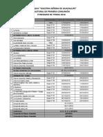 Itinerario de Temas de Primera Comunión 2016