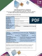 Guía de Actividades y Rúbrica de Evaluación - Tarea 2- Diseñar Un Taller de Literatura Infantil Para Padres de Familia.
