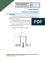 Modul Percobaan Orifice Discharge 2019