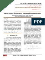 Flexural Strength Behaviour of R C Beams using Environmental Wastes