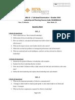 Third Semester MBA Question Bank - Faculty Name - Course Name