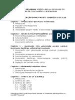 Programa Proposta FÍSICA PARA a 10ª CLASSE
